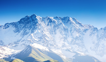 Alpine meadows at the foot of  Mt. Shkhara. Upper Svaneti, Georgia, Europe. Caucasus mountains. Beauty world. photo