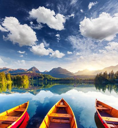 europe: Mountain lake in National Park High Tatra. Strbske pleso, Slovakia, Europe. Beauty world.