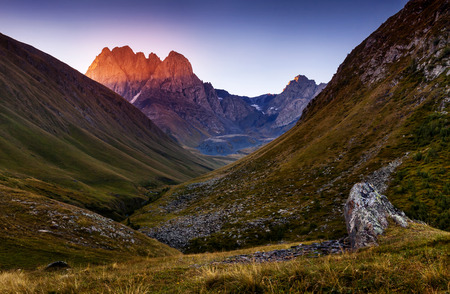 Juta village - foot of Mt Chaukhebi. Georgia, Europe. Caucasus mountains. Beauty world.