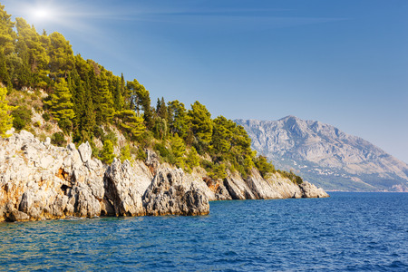 fantastic view: Fantastic view azure sea over Budva riviera. Balkans, Adriatic sea, Europe. Beauty world. Stock Photo