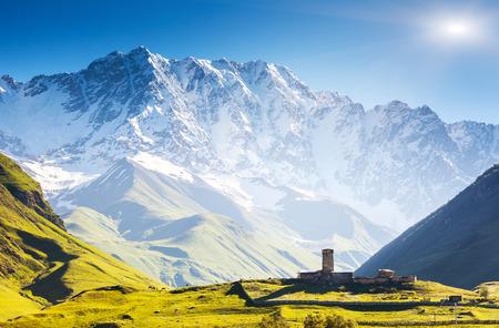 ushguli: Ushguli that consists of four small villages located at the foot of Mt. Shkhara and Enguri gorge. Upper Svaneti, Georgia, Europe. Caucasus mountains. Beauty world.