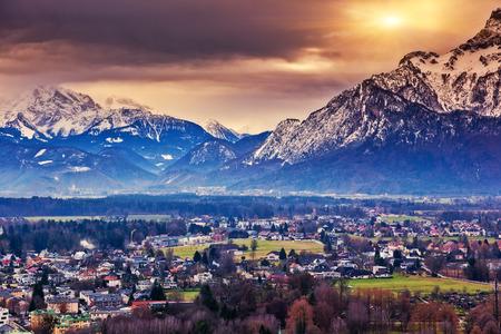 Fantastic view of the historic city of Salzburg. Austria, Europe. Beauty world. photo
