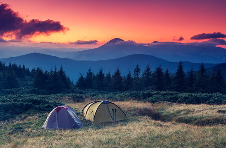 camping tent: Tourist camp in a mountains. Carpathian, Ukraine, Europe. Beauty world. Stock Photo
