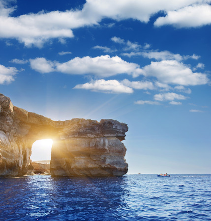 Fantastic Azure Window, famous stone arch on Gozo island, Dwejra. Malta Standard-Bild