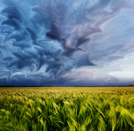 Fantastic field at the dramatic overcast sky. Dark ominous clouds. Creative collage. Ukraine, Europe. Beauty world. photo