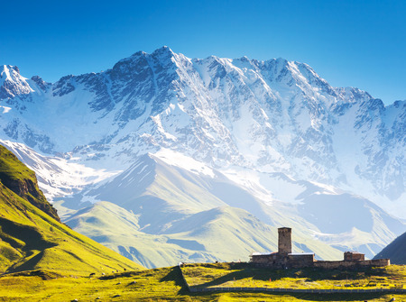 shkhara: Ushguli that consists of four small villages located at the foot of Mt. Shkhara and Enguri gorge. Upper Svaneti, Georgia, Europe. Caucasus mountains. Beauty world.