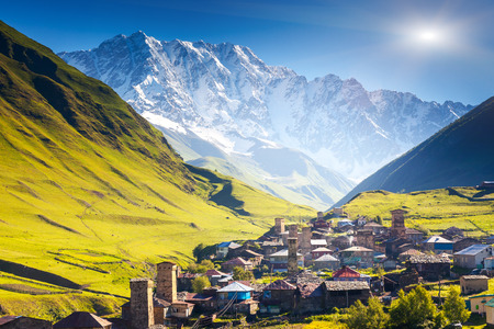 svaneti: Ushguli that consists of four small villages located at the foot of Mt. Shkhara and Enguri gorge. Upper Svaneti, Georgia, Europe. Caucasus mountains. Beauty world.