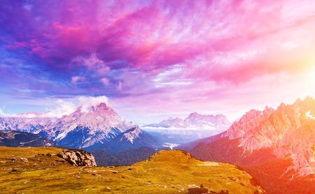 alp: Great view of the Cadini di Misurina range, Cristallo and Sorapis group in National Park Tre Cime di Lavaredo. Dolomites, South Tyrol. Auronzo, Italy, Europe. Dramatic overcast sky. Beauty world.