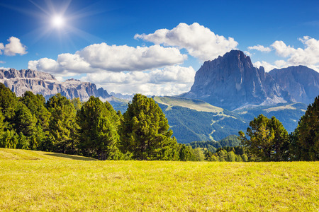 selva: Great view on the Sassolungo (Langkofel) and Sella group, valley Gardena. National Park Dolomites, South Tyrol. Location Ortisei, S. Cristina and Selva, Italy, Europe. Dramatic scene. Beauty world. Stock Photo