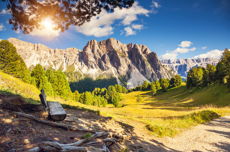 cir: Great view on the Pizes de Cir ridge, valley Gardena. National Park Dolomites, South Tyrol. Location Ortisei, S. Cristina and Selva Gardena, Italy, Europe. Dramatic scene. Beauty world.