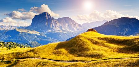 Great view on the Sassolungo (Langkofel) group, valley Gardena. National Park Dolomites, South Tyrol. Location Ortisei, S. Cristina and Selva Gardena, Italy, Europe. Dramatic scene. Beauty world. photo