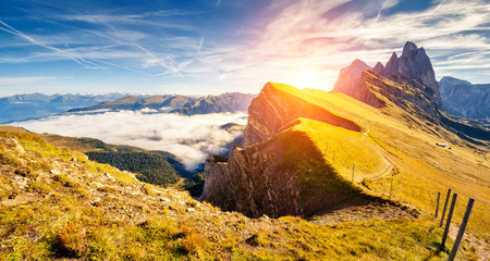 odle: Great view on the  Odle - Geisler group. National Park valley Val Gardena. Dolomites, South Tyrol. Location Ortisei, S. Cristina and Selva Gardena, Italy, Europe. Dramatic morning scene. Beauty world. Stock Photo