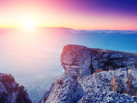 majestic mountain: Majestic morning mountain landscape. Crimea, Ukraine, Europe. Beauty world.