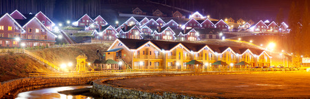 the residential house with christmas lights photo