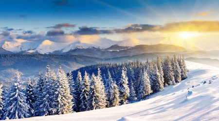 christmas landscape: Majestic sunset in the winter mountains landscape. Dramatic sky.