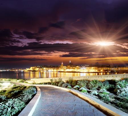 night scene: Night view of Valletta from Sliema. Valletta with Our Lady, Malta