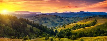 impressive: Beautiful green hills at dusk. Carpathian, Ukraine, Europe. Beauty world.