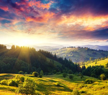impressive: Beautiful green hills at dusk. Dramatic overcast sky. Carpathian, Ukraine, Europe. Beauty world.