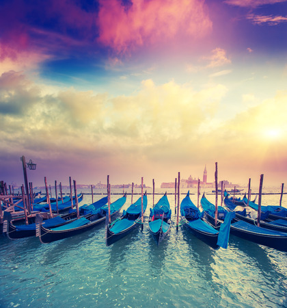 Amazing view of Grand Canal at sunset with San Giorgio Maggiore church. San Marco, Venice, Italy, Europe. Beauty world. Retro style.  photo