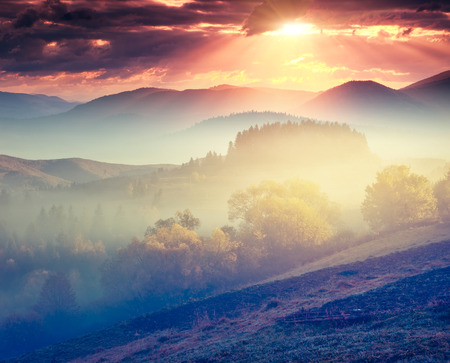 morning light: Majestic sunny hills under morning overcast sky. Dramatic scenery. Carpathian, Ukraine, Europe. Beauty world. Retro filtered.