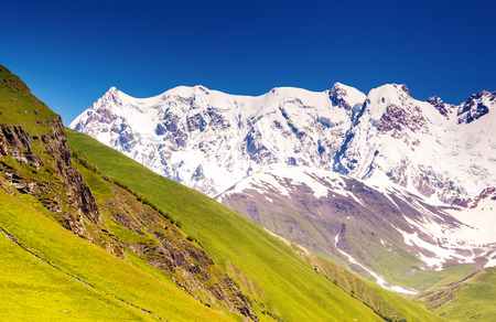Alpine meadows at the foot of Mt. Shkhara in Upper Svaneti, Georgia photo