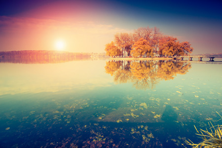 Fantástico día soleado en el lago en Ternopil, Ucrania Foto de archivo