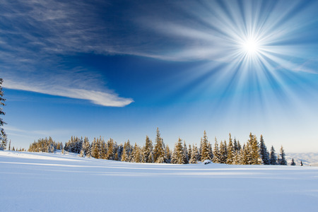 christmas landscape: A frosty and sunny day is in mountains Stock Photo