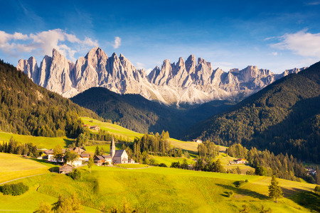 odle: Countryside view of the St. Magdalena or Santa Maddalena in the National Park Puez Odle or Geisler summits. Dolomites, South Tyrol. Location Bolzano, Italy, Europe. Dramatic morning. Beauty world.