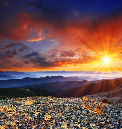 fall sunrise: Majestic sunrise in the mountains landscape. HDR image