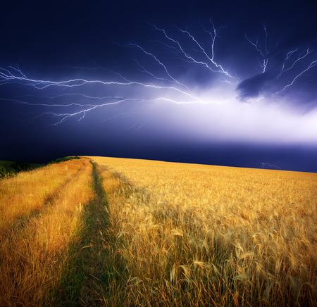 summer storm beginning with lightning Stock Photo