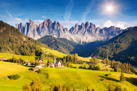 beautiful scenery: Countryside view of the St. Magdalena or Santa Maddalena in the National Park Puez Odle or Geisler summits. Dolomites, South Tyrol. Location Bolzano, Italy, Europe. Dramatic morning. Beauty world.