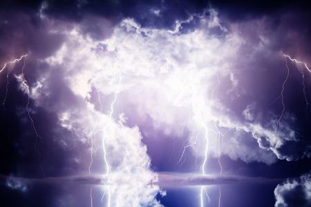 lightning bolt: Dark ominous clouds. Thunderstorm with lightning.