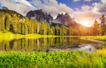 dolomite: Great view of the foggy Lago Di Antorno in National Park Tre Cime di Lavaredo. Cadini di Misurina Range, Dolomites, South Tyrol. Location Auronzo, Italy, Europe. Dramatic overcast sky. Beauty world.