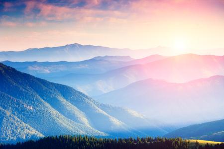 пейзаж: Величественная панорама гор с зелеными солнечных лучей. Драматическая сцена в национальном парке, Прикарпатье, Украина Фото со стока