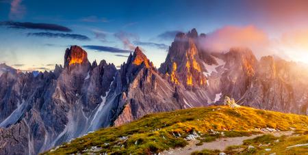 Great view of the top Cadini di Misurina range in National Park Tre Cime di Lavaredo. Dolomites, South Tyrol. Location Auronzo, Italy 스톡 콘텐츠