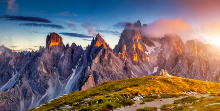 Great view of the top Cadini di Misurina range in National Park Tre Cime di Lavaredo. Dolomites, South Tyrol. Location Auronzo, Italy Stock Photo