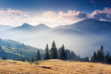 Majestic sunset in the mountains landscape with sunny beams. Dramatic scene in Carpathian, Ukraine