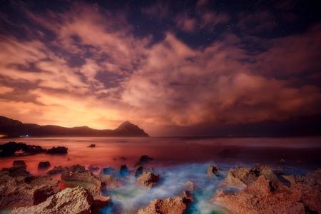 star sky: Fantastic view of the nature reserve Monte Cofano. Dramatic scene in cape San Vito. Sicilia, Italy
