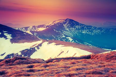 majestic mountain: Majestic morning mountain landscape. Dramatic overcast sky. Chornogora ridge panorama. Carpathian, Ukraine, Europe. Beauty world. Retro style filter.