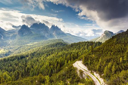 alp: Great view of the Cadini di Misurina range from Monte Piana in National Park Tre Cime di Lavaredo. Dolomites, South Tyrol. Location Auronzo, Italy, Europe. Dramatic overcast sky. Beauty world.