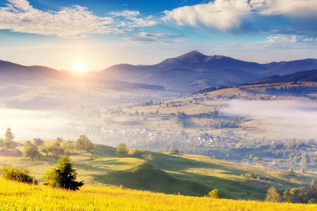 Fantastic foggy day and bright hills by sunlight. Dramatic morning scenery in Carpathian, Ukraine