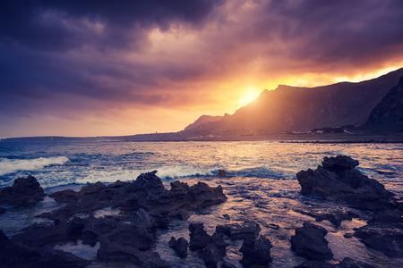 sicilia: Fantastic view of the nature reserve Dello Zingaro. Dramatic morning scene in cape San Vito. Sicilia, Italy Stock Photo