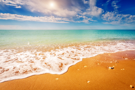view on sea: Fantastic view azure sea glowing by sunlight. Dramatic morning scene in Makauda, Sciacca. Sicilia, southern Italy Stock Photo