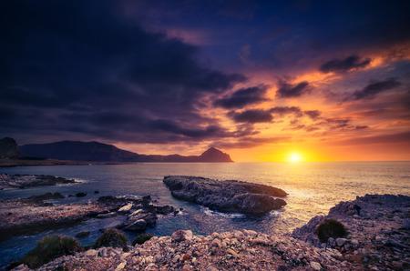 wonderful: Fantastic view of the nature reserve Monte Cofano. Dramatic morning scene in cape San Vito. Sicilia, Italy Stock Photo