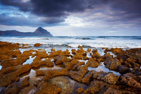 sicilia: Fantastic view of the nature reserve Monte Cofano. Dramatic morning scene in cape San Vito. Sicilia, Italy Stock Photo