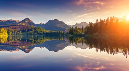 tranquility: Fantastic mountain lake in National Park High Tatra. Dramatic scenery in Strbske pleso, Slovakia