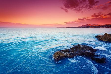sicilia: Fantastic view azure sea glowing by sunlight. Dramatic morning scene in Makauda, Sciacca. Sicilia, southern Italy Stock Photo