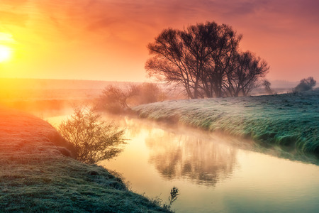 nature scenery: Majestic foggy river with fresh green grass in the sunlight. Dramatic colorful scenery in Dnister river, Ternopil. Ukraine Stock Photo