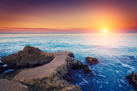 fantastic view: Fantastic view azure sea glowing by sunlight. Dramatic morning scene in Makauda, Sciacca. Sicilia, southern Italy Stock Photo