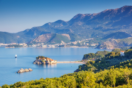 fantastic view: Fantastic view of the Sveti Stefan, small islet and resort in Montenegro
